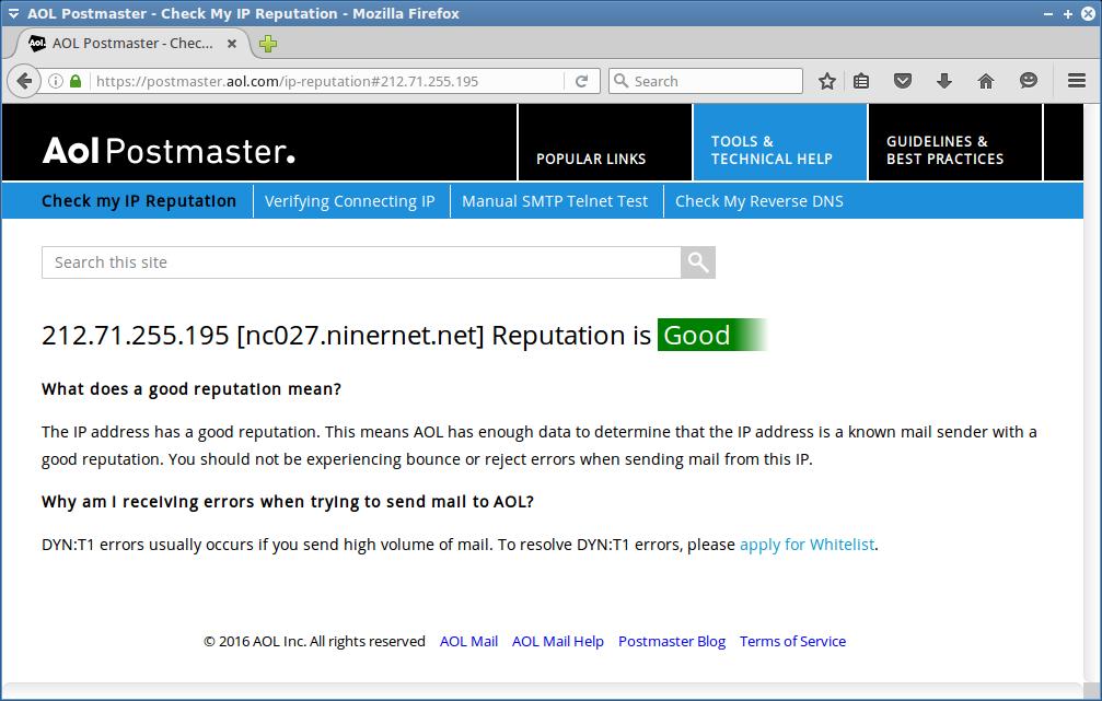 Reputation of NinerNet mail server IP address with AOL.